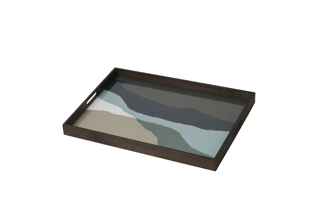 Graphite Wabi Sabi Rectangular Glass Tray - Large