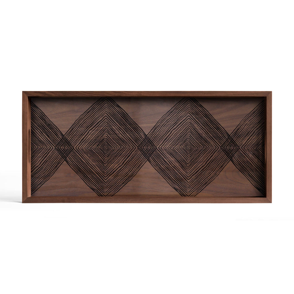 Walnut Linear Squares Glass Tray Rectangular