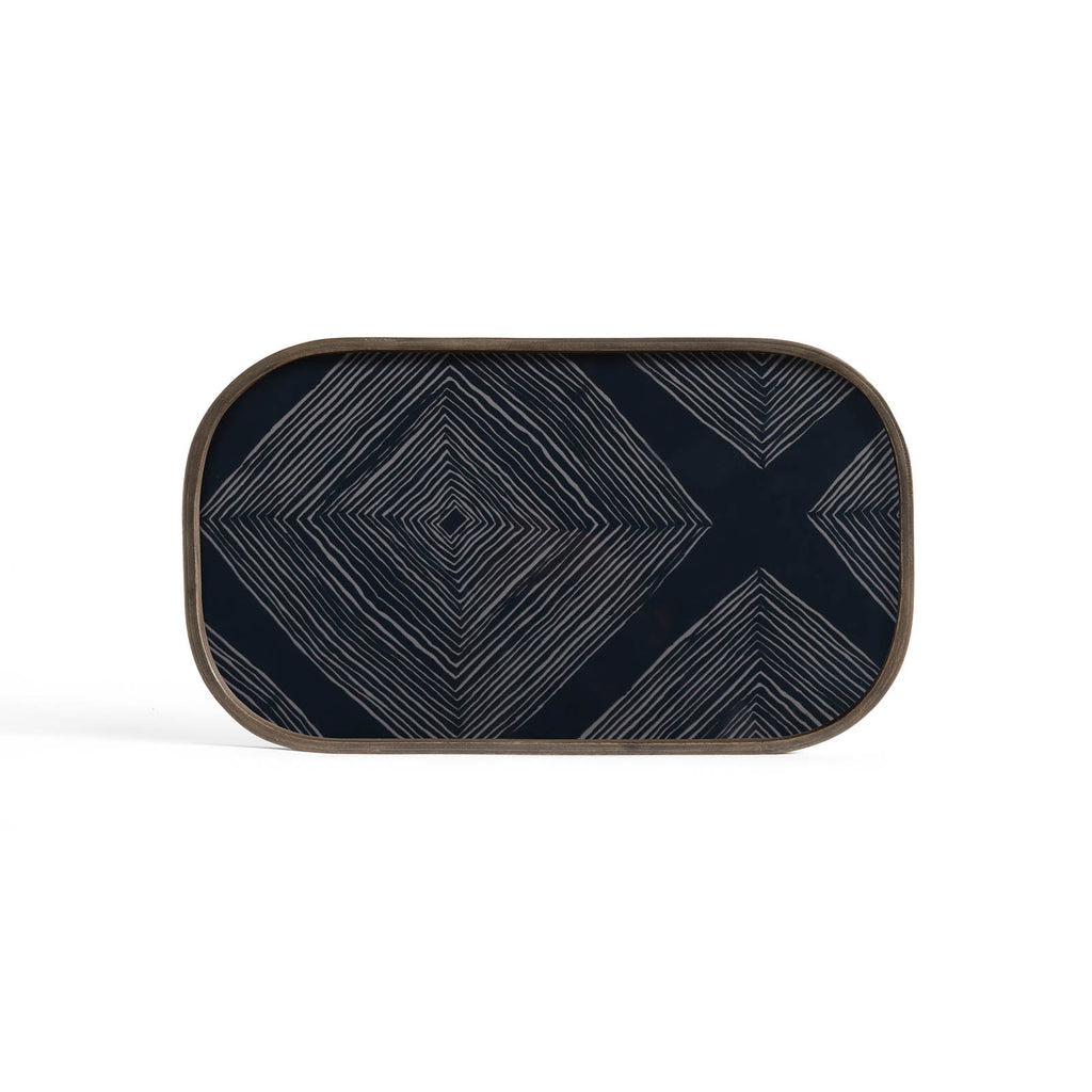 Ink Linear Squares Glass Valet Tray