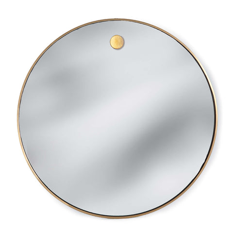 Hanging Circular Mirror in Natural Brass design by Regina Andrew