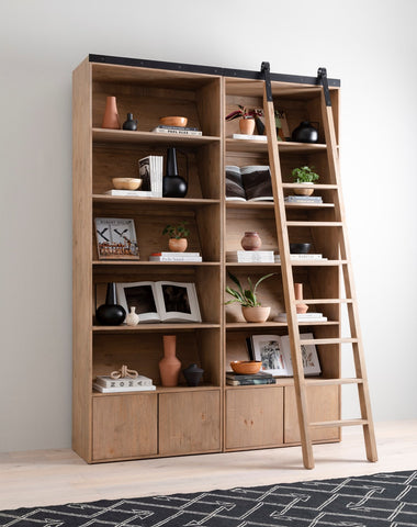 Bane Double Bookshelf & Ladder in Various Colors