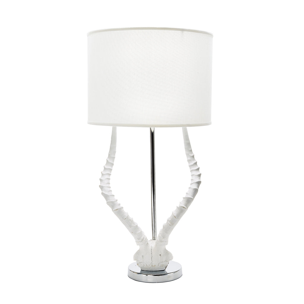 White Faux Horn Lamp with White Shade design by Lazy Susan