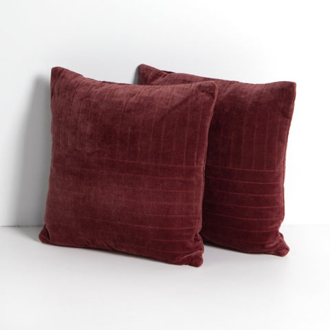 Channel Tufted Pillow in Burgundy Velvet by BD Studio