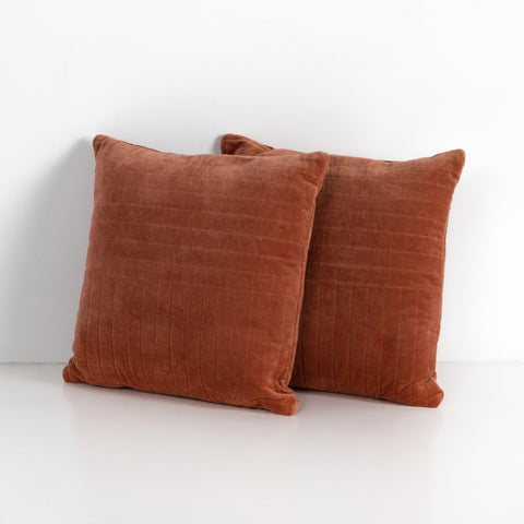 Channel Tufted Pillow Set in Rust Velvet