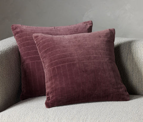 Channel Tufted Pillow in Oxblood Velvet by BD Studio