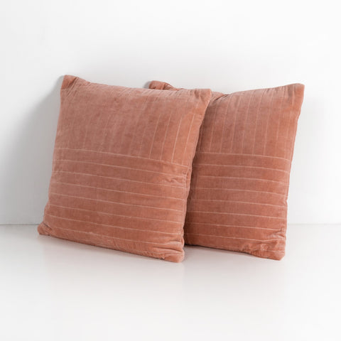 Channel Tufted Pillow in Blush Velvet by BD Studio