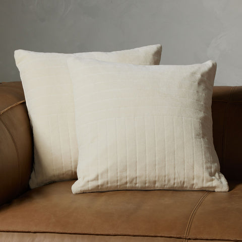 Channel Tufted Pillow in Cream Velvet by BD Studio