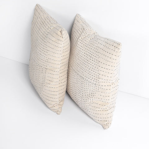 Kantha Stitch Pillow in Taupe by BD Studio