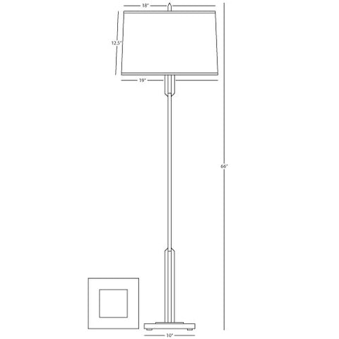 Empire Floor Lamp in Various Finishes design by Robert Abbey