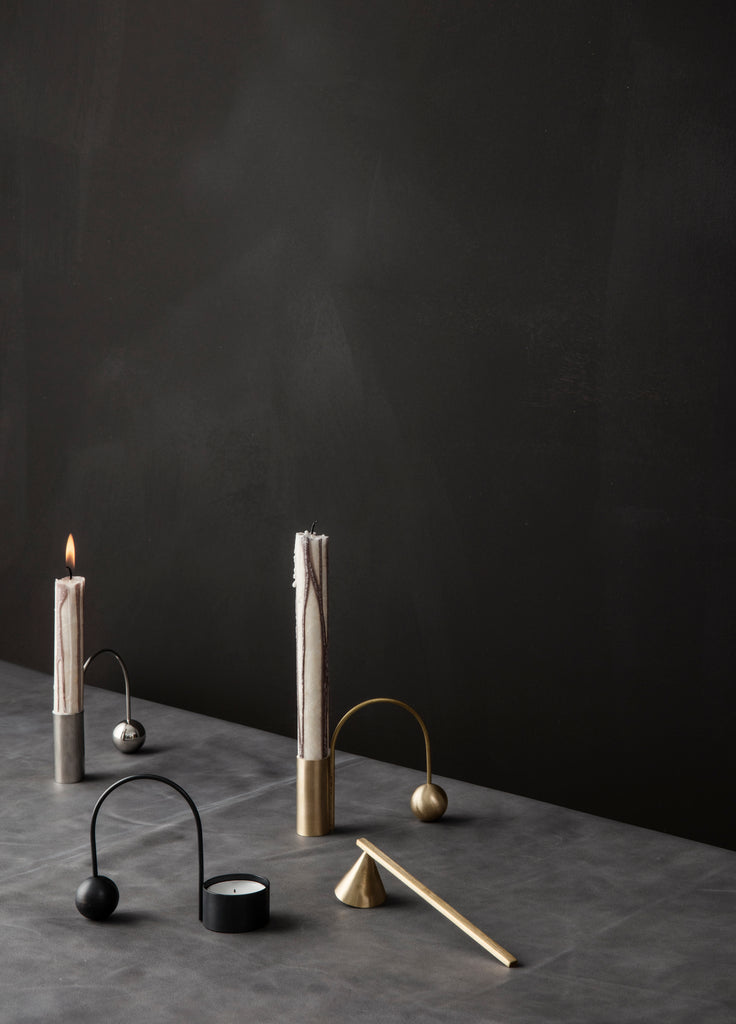 Balance Tealight Holder in Black Brass by Ferm Living