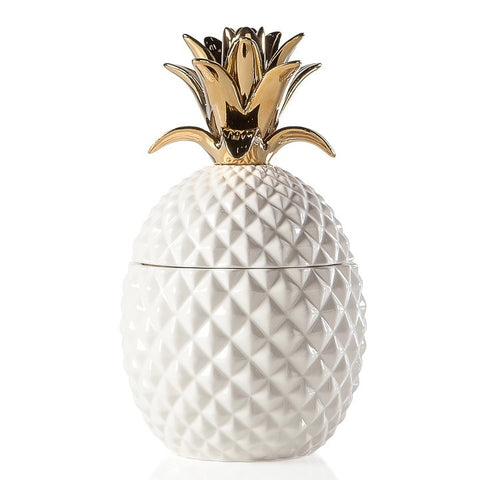 Pineapple Gold Crown White Ceramic Canister