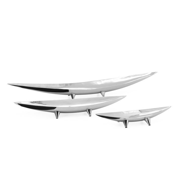 Silver 3 Piece Tapered Boat Bowl Set