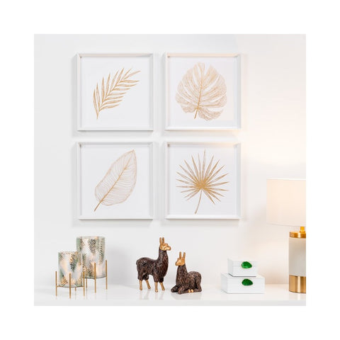 Gold Feathered Palm Leaf Framed Canvas Print