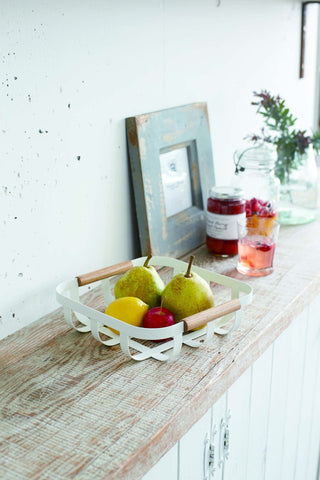 Tosca Fruit Basket in White by Yamazaki