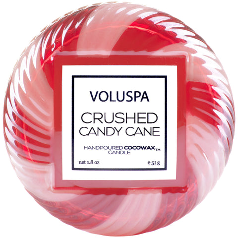Macaron Candle in Crushed Candy Cane design by Voluspa