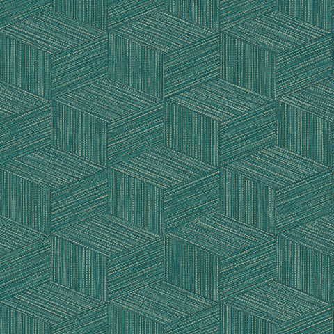 Sample 3-Dimensional Faux Grasscloth Wallpaper in Teal by Walls Republic