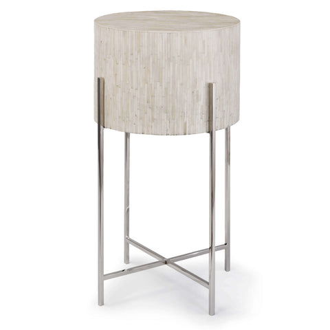 Bone Drum Table in Polished Nickel design by Regina Andrew