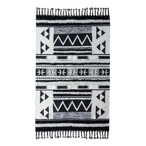 Artesia Kilim Shag Rug in Ivory & Black by BD Home