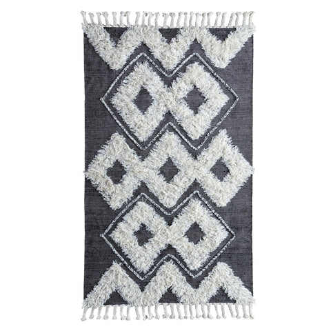 Santa Rosa Kilim Shag Rug in Black & Ivory by BD Home