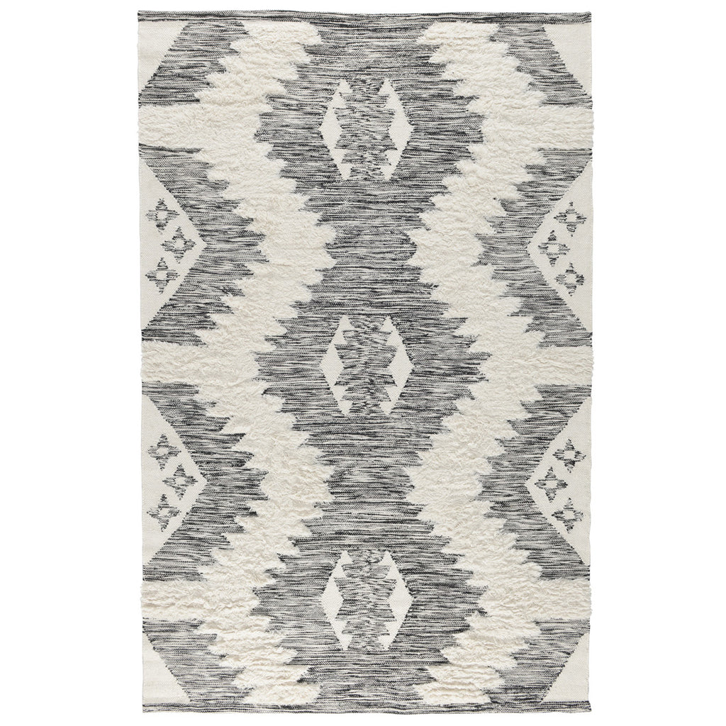 Belmont Kilim Shag Rug in Ivory & Black by BD Home