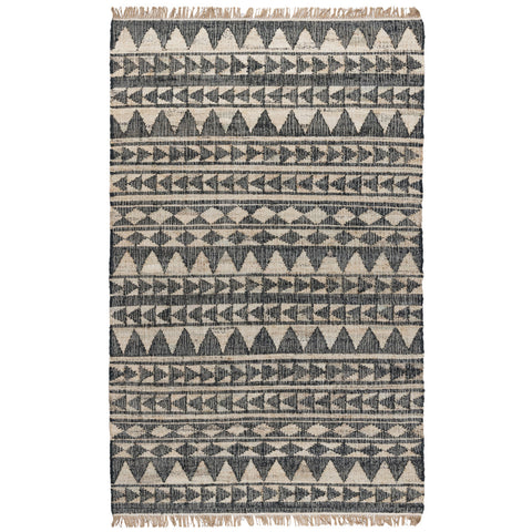 Solana Distressed Rug in Black & Natural by BD Home