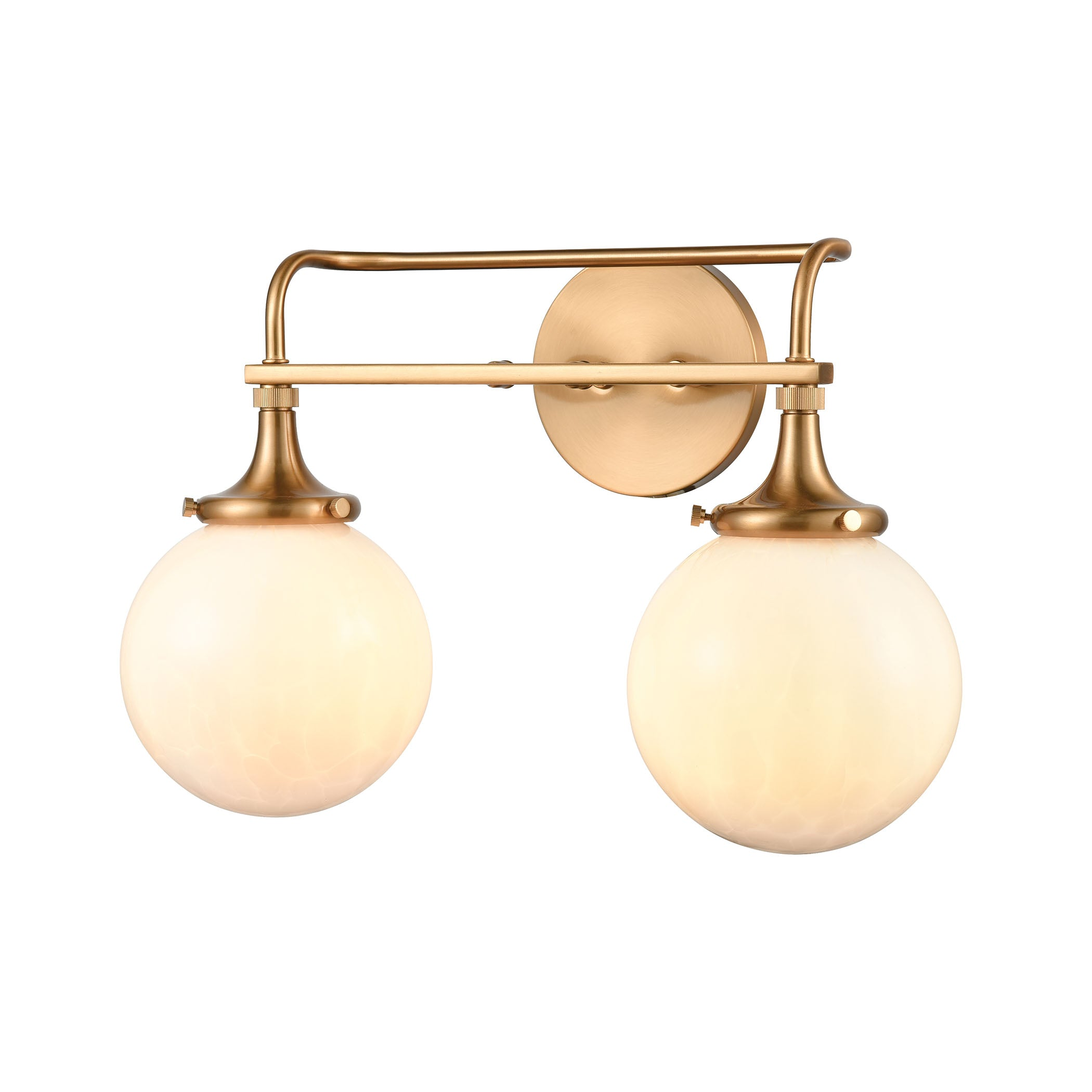 Beverly Hills 2 Light Vanity Light In Satin Brass With White Feathered Burke Decor