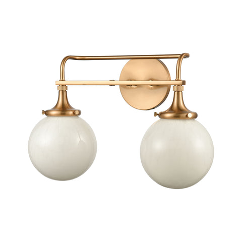 Beverly Hills 2-Light Vanity Light in Satin Brass with White Feathered Glass by BD Fine Lighting