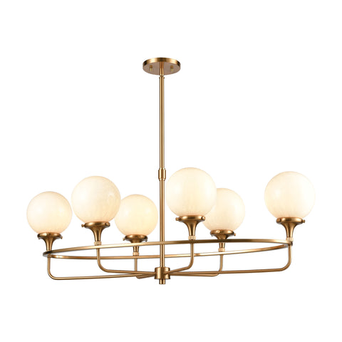 Beverly Hills 6-Light Island Light in Satin Brass with White Feathered Glass by BD Fine Lighting