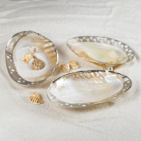 Set of 3 Ornamented Cabebe Shell Footed Dish w/ Silver Plated Trim design by Twos Company