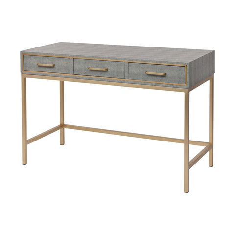 Sands Point 3-Drawer Desk in Grey and Gold by Burke Decor Home