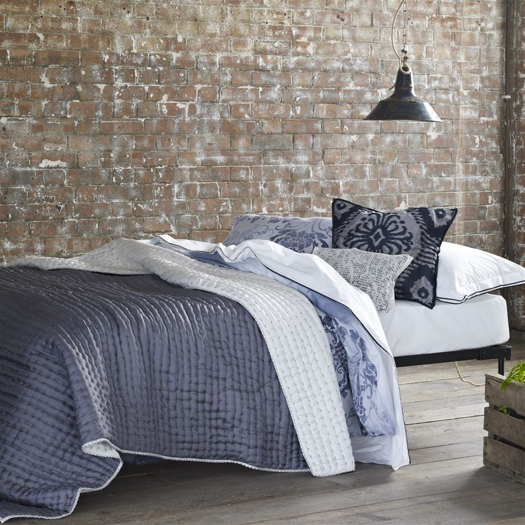Chenevard Chalk & Graphite Silk Quilt and Shams design by Designers Guild