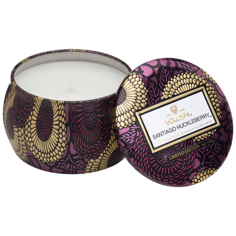 Petite Decorative Tin Candle in Santiago Huckleberry design by Voluspa