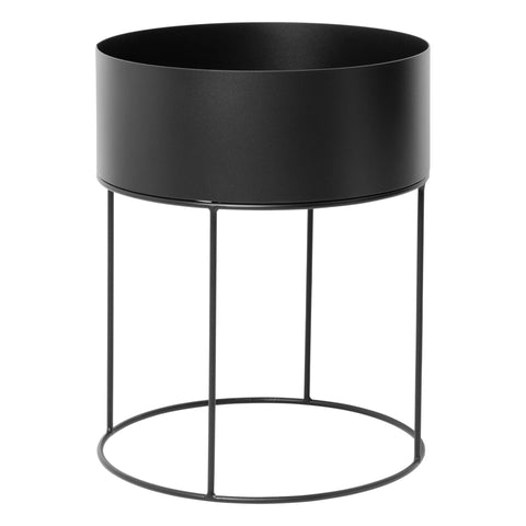 Round Plant Box in Black by Ferm Living