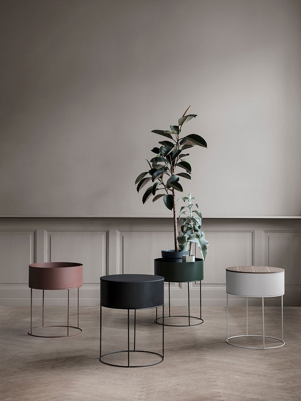 Round Plant Box in Light Grey by Ferm Living