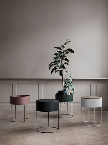 Round Plant Box in Light Grey design by Ferm Living