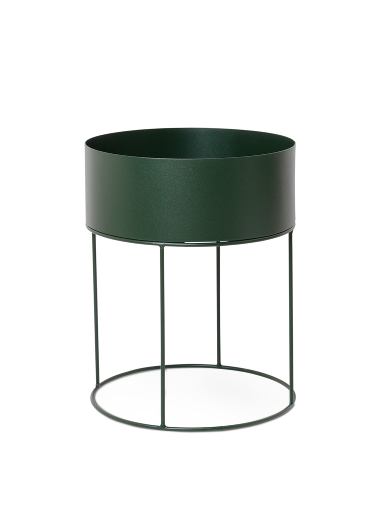 Round Plant Box in Dark Green by Ferm Living