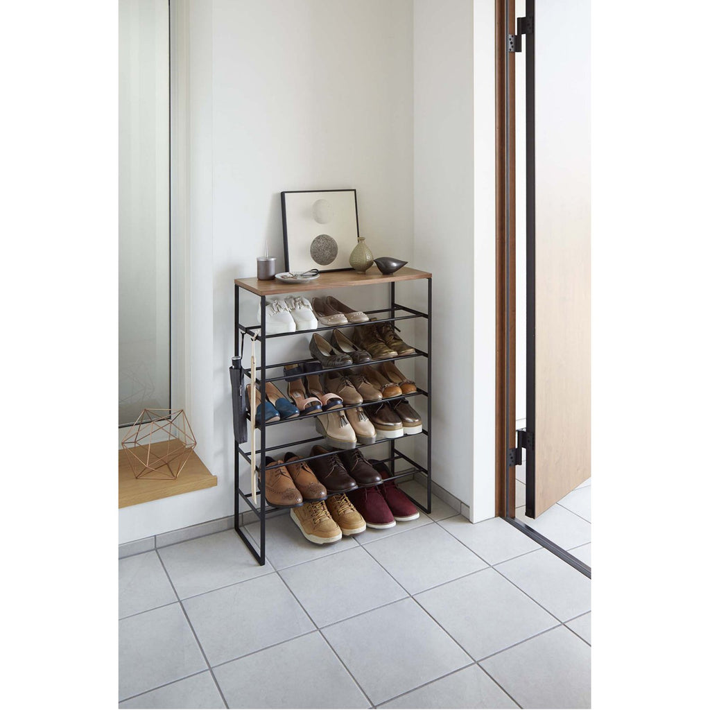 Tower 6-Tier Wood Top Shoe Rack by Yamazaki