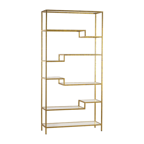 Vanguard Shelving Unit in Gold with Mirrored Surfaces by Burke Decor Home