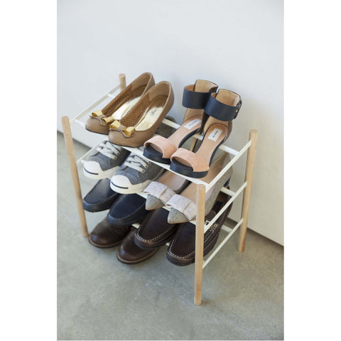 Plain 3-Tier Expandable Shoe Rack - Wood and Steel by Yamazaki