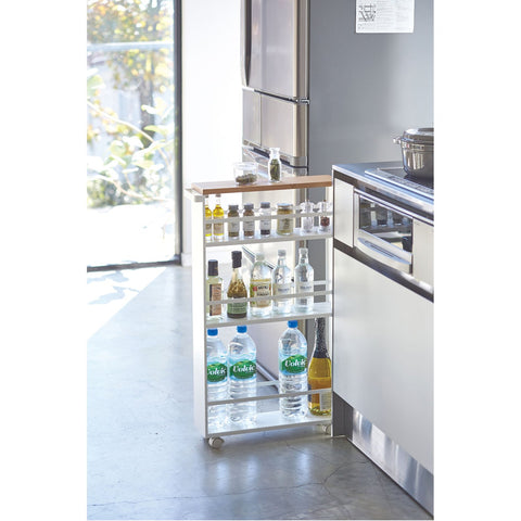 Tower Rolling Slim Storage Cart With Handle by Yamazaki