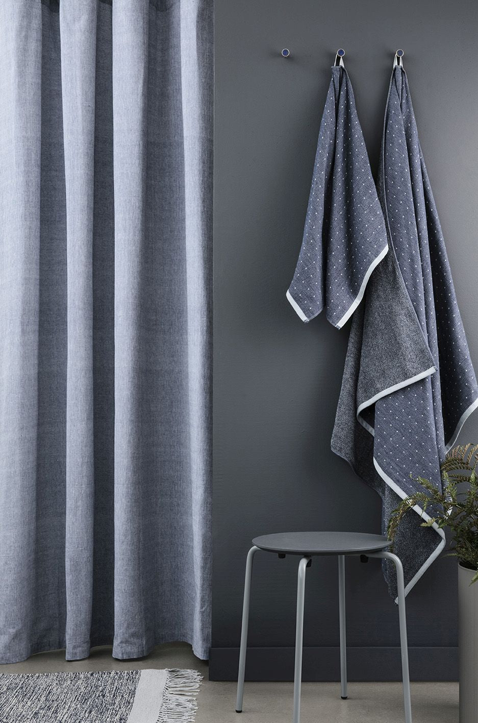 chambray shower curtain in blue design by ferm living burke decor. Black Bedroom Furniture Sets. Home Design Ideas