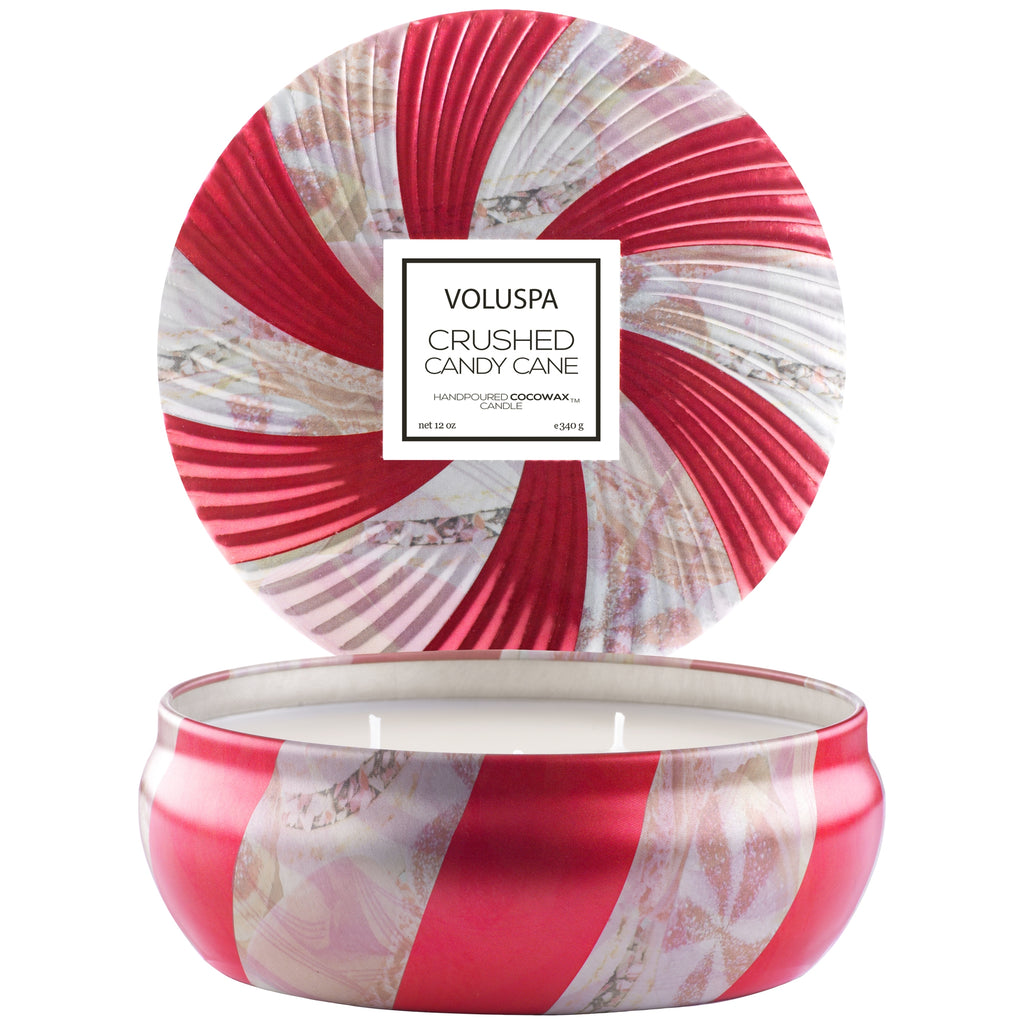3 Wick Candle in Decorative Tin in Crushed Candy Cane design by Voluspa