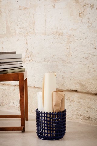 Ceramic Basket - Blue in Various Sizes by Ferm Living