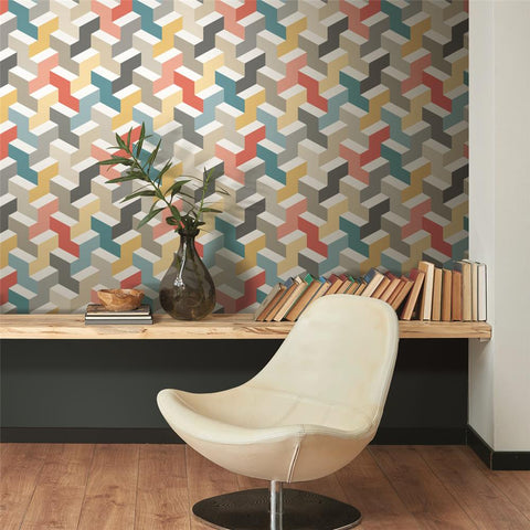 3D Steps Peel & Stick Wallpaper in Multi by RoomMates for York Wallcoverings