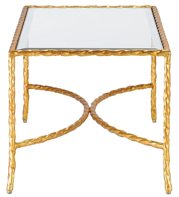 Currey And Company Side Tables: Gilt Twist Rectangular Table Design By Currey & Company
