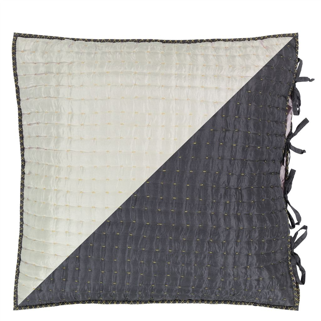 Chenevard Silver and Slate Pure Silk Quilt and Shams design by Designers Guild