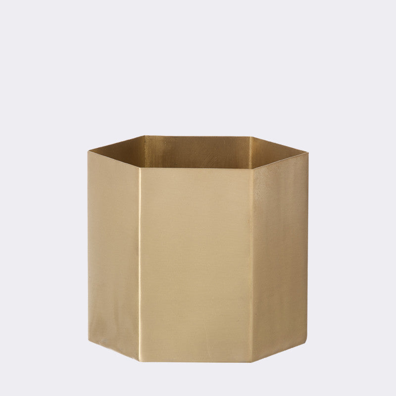 Small Hexagon Brass Pot design by Ferm Living