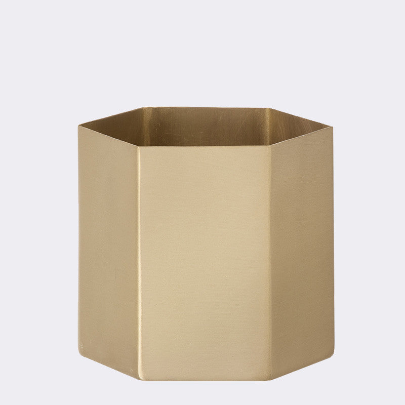 Large Hexagon Brass Pot design by Ferm Living