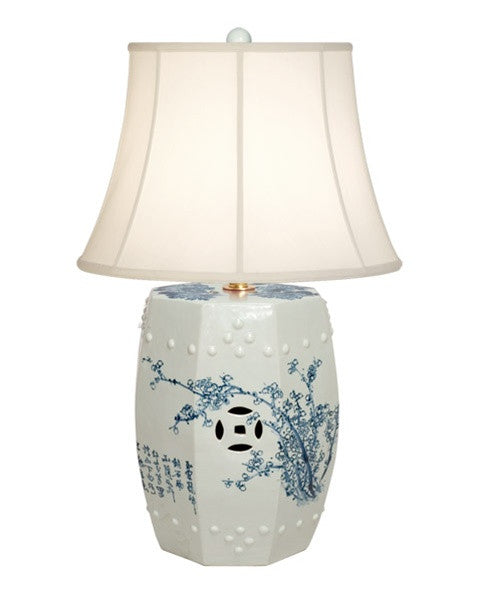 Garden Stool Lamp in Blue & White