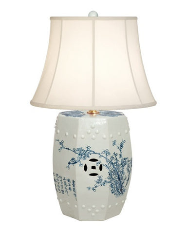 Garden Stool Lamp in Blue & White design by Emissary